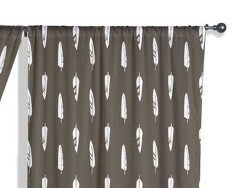 45 Colors Woodland Curtains, Feathers Curtain Panel, Rustic Cabin Curtains,  Tribal Woodland Nursery