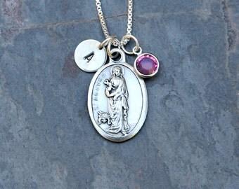 Saint St Agatha Necklace - Personalized Initial, Swarovski Birthstone or Pearl - Patron Saint of Nurses, Breast Cancer, Survivor Jewelry