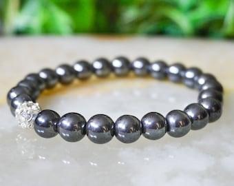 Hematite Bracelet,Mens Jewelry,Beaded Bracelet,Mens Bracelet,Gift for Him,Rhinestones Bracelet,Gemstone Bracelet Mens,Silver Jewelry