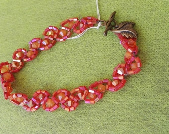 Hand made tennis bracelet orange crystal beads