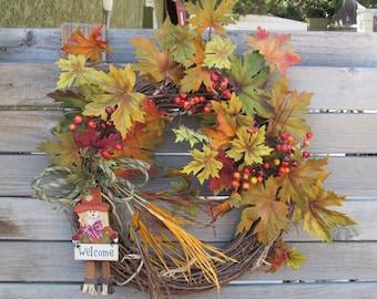 "20"" Fall Welcome Wreath Scarecrow Wreath Fall Leaf Wreath Welcome Thanksgiving Wreath Autumn Wreath Fall Door Decor Welcome Leaf Door Decor"