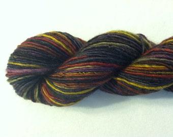 Handspun Yarn - DARK SPIRIT - BFL, Tussah Silk