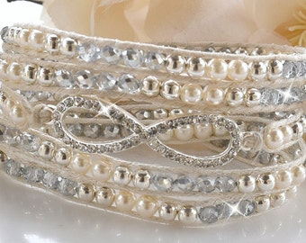 Pearl and Crystal Infinity Wrap Bracelet/Bohemian/Wedding Jewelry/Bridal