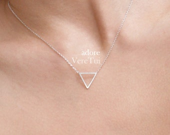 Dainty Geometric Cutout Silver Triangle Layering Necklace