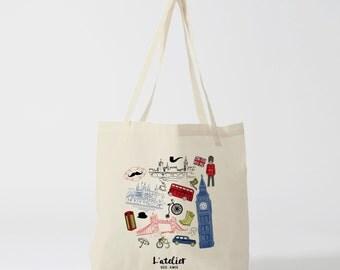 X196Y Tote bag London, bag in canvas, cotton bag, diaper bag, purse, tote bag, shopping bag, bag, of course, shopping bag