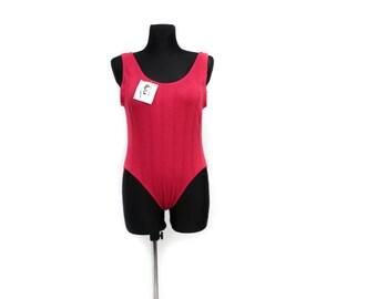 Womens Bodysuit, Red bodysuit, Leotard, Womans Leotard, Ballet Leotard, Vintage 80s Onsie, Red Bodycon Top, Ballet Leotard / Medium Large