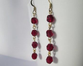 Red Glass Dangle Earrings