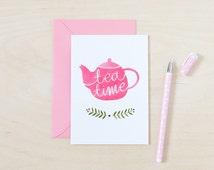 Invitation card, Tea time, All occasion card,Tea invitation card