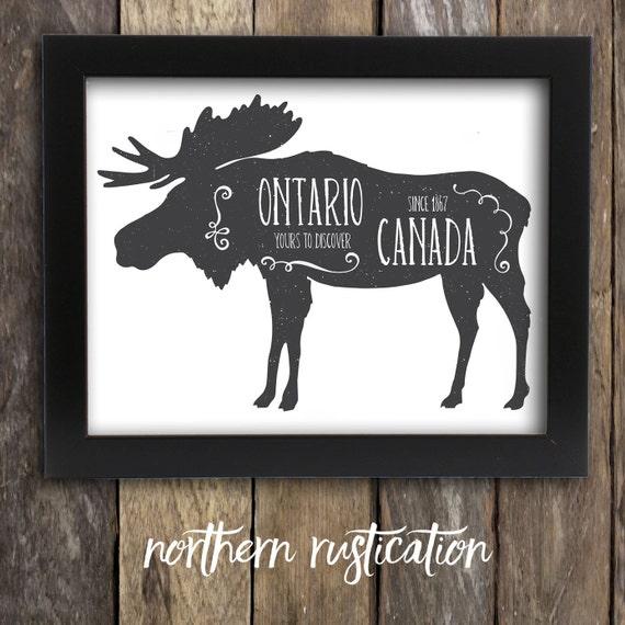 Ontario Moose Decor Moose Art Canadian Toronto Art Rustic