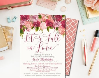 Fall Bridal Shower Invitation, Lets Fall in Love Bridal Shower Invite, Bridal Shower Printable INSTANT DOWNLOAD, DIY Invitation