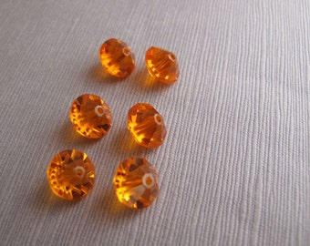 6pcs Vintage Tangerine Orange Rhinestone Beads 10x7.5mm - B-04OR-31