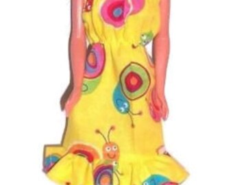 Fashion Doll Clothes-Yellow Snail Print Sundress