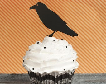 Halloween Cupcake Toppers, Crow Cupcake Toppers, Raven Cupcake Topper, Fall Cupcake Toppers, Autumn Cupcake Top, Horror Night Cupcake