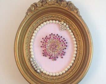 Pink Sunburst Jewelry Art Framed Picture