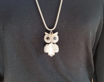 Extra Long Owl Necklace Decked out in Silver and Rhinestones