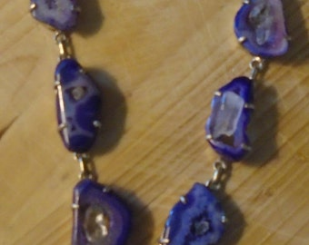 Purple, Sliced Agate in Silver Necklace, Set with Herkimer Diamonds