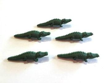 Alligator Buttons Jesse James Buttons Noah's Animals Dress It Up Buttons Set of 5 Shank Back - 748