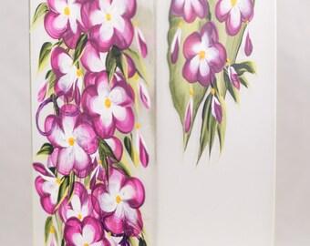 Vase - 12 in Sq - Five Petal Flower Design - Hand Painted