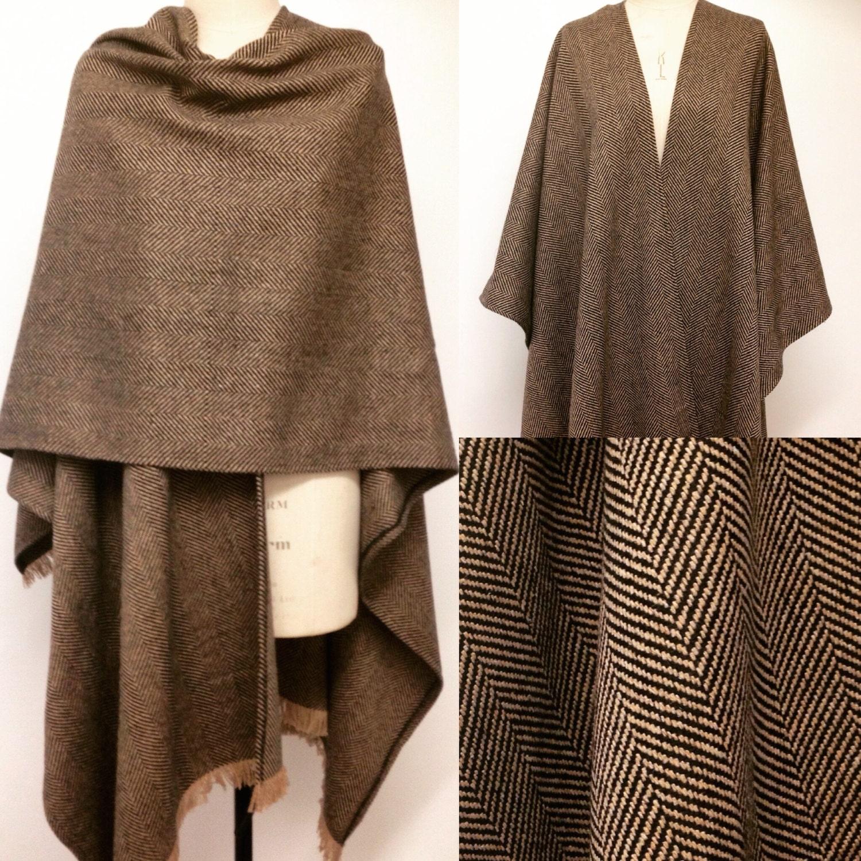 menswear poncho cape herringbone wool oversized poncho. Black Bedroom Furniture Sets. Home Design Ideas