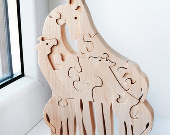 wooden puzzle, Animal puzzle,  Wooden Puzzle giraffe, Puzzle Toy, Kids gifts, Wooden giraffe, big giraffes family