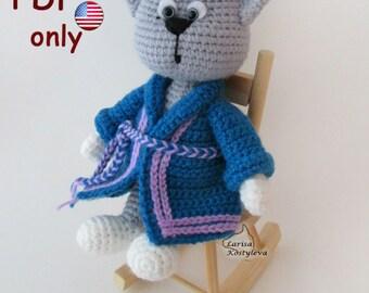 Cat in a dressing gown, amigurumi crochet pattern