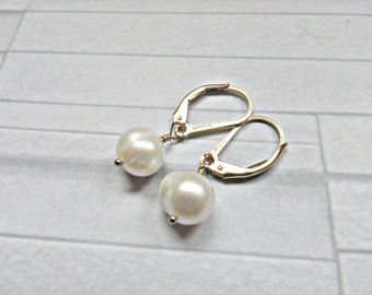 Pearl earrings, pearl gold earrings, Pearl gold lever backs, Bridal earrings, Wedding earrings, Pearl bride earrings, Made in the UK