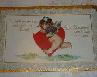Cupid Valentine Messenger Antique Unused TUCK Postcard