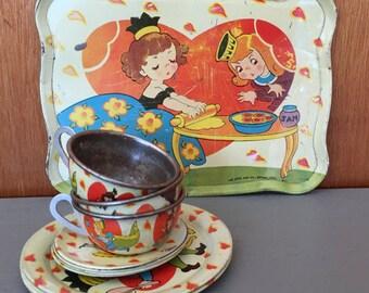 Ohio Art Tin Litho Vintage Childs Toy Tea Set Fairy Tale Mid Century
