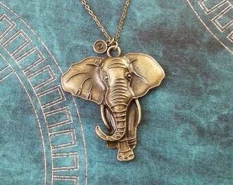 Elephant Necklace LARGE Bronze Elephant Jewelry Elephant Pendant Necklace Brass Elephant Charm Necklace Animal Necklace Elephant Gift Safari