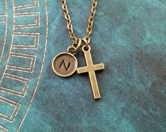 Cross Necklace SMALL Bronze Cross Charm Necklace Cross Jewelry Christian Jewelry Easter Jewelry Christian Necklace Cross Pendant Necklace