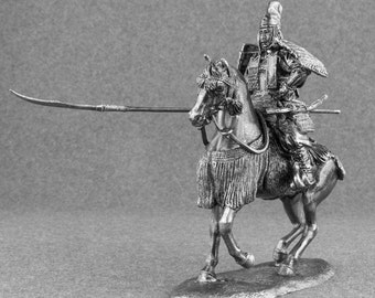 Miniature Cavalry Soldiers 1/32 Scale Medieval Warrior with Naginata Japanese Toy Soldier 54mm Handmade Pewter Metal Figurine