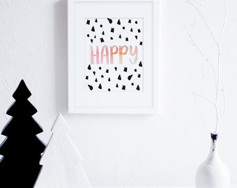 Watercolor Happy Art Print Download, Brush Lettering, Modern Wall Art, Inspirational Art Print, Pastel Wall Art, Boho Decor, Scandinavian
