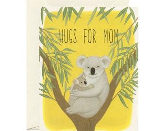 "Koala Hugs Mother's Day Card - ""Hugs For Mom"" - ID: MOM080"