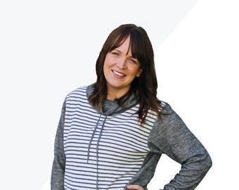 Halifax Hoodie, womens knit hoodie funnel cowl neck drawstring kangaroo pocket zip up pdf sewing pattern