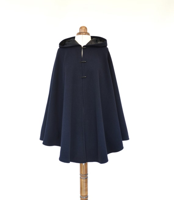 Navy Wool Cashmere Cape, Hooded Cape, Navy Wool Hooded Cloak, Winter Cape Coat, Wool Poncho, Plus Size Cape Coat