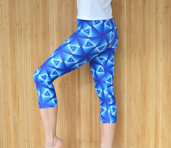 Yoga Pants, Workout Pants, Capri Yoga Leggings, Blue Capri Yoga Pants, Gym Pants, Plus Size Workout Pants