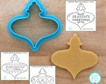Christmas Ornament 1 Cookie Cutter and Fondant Cutter Designed By Whisked Away Cutters - **Guideline Sketches to Print Below**