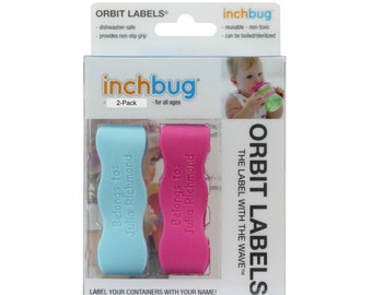 Personalized Labels for baby bottles and sippy cups by InchBug  Bee/Butterfly and Lion/Monkey  (Flamingo Pink and Ice Blue 2-PACK)