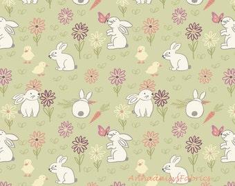 Bunny Garden Quilt Fabric, Lewis & Irene LEIA148-2, Easter Fabric, Bunny Fabric, Rabbit Fabric, Easter Quilt Fabric, Children's Fabric