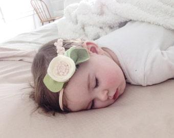 IVORY // single flower headband or alligator clip // felt flower accessories for a whimsical childhood
