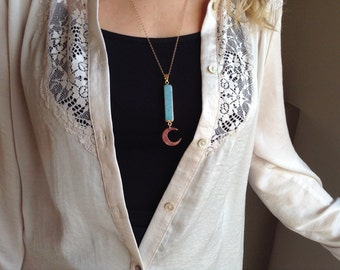 Crescent moon necklace * Lunar necklace * Turquoise bar *