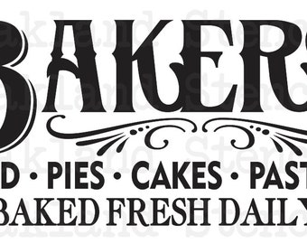 """Primitive STENCIL**BAKERY Bread Pies Cakes Pastries**12""""x24"""" for Painting Signs, Canvas, Fabric, Wood, Airbrush, Kitchen, Farm, Vintage"""