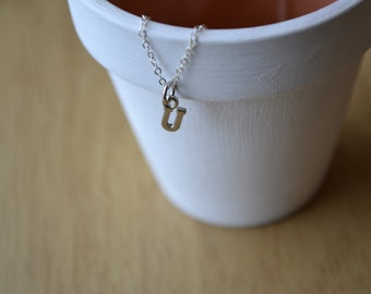 Tiny Silver Letter Necklace, Silver Initial Necklace, Name Necklace, Minimalist Necklace, Initial, Letter Necklace, Initial Charm Necklace