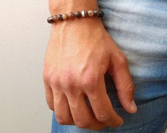 Mens Beaded Bracelet - Mens Brown Agate Bracelet - Gemstone Bracelet - beaded bracelet - mens bracelet - stone bracelet - mens jewelry