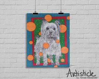 Yorkie Art Print - Dog Art - Yorkshire Terrier Art - Dog Lover Gift - Animal Artwork - Dog Drawing - Yorkie Illustration - Modern Art Print
