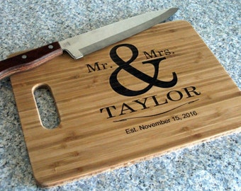 Personalized Cutting Board Wedding Gift Cutting Board Mr. & Mrs. Cutting Board Anniversary Gift Bridal Shower Trending Gift for Weddings