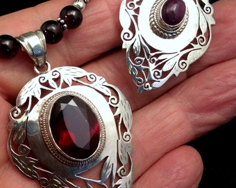 "Filigree 23"" Red Garnet or 22"" Ruby Pendant Necklace. Handcut St Silver,  free US ship"