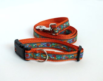 "SALE Van Gogh Paws Med 1"" collar w/5ft leash set"