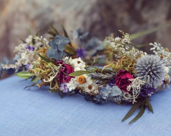 custom bridal crown, dried flower crown, woodland flower crown, lavender bridal crown, eucalyptus crown, greenery crown, light blue crown