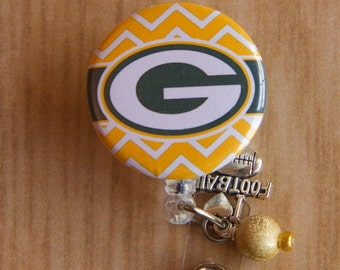 Green Bay Packers ID Badge Holder with Dangle Beads and Football Charm - Nurse Badge Reel - Football Reel -  Badge Holder